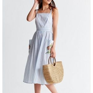 UO Elle Embroidered Pocket Striped Midi Dress